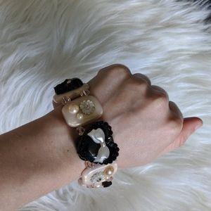 Tarina Tarantino stretch tuxedo skull bracelet